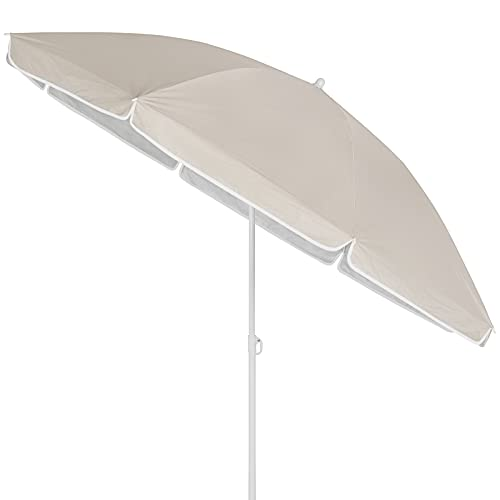 Kingsleeve Sonnenschirm 200 cm UV Schutz 50+ Neigbar Wasserabweisend Balkonschirm Gartenschirm Strand Balkon beige klein