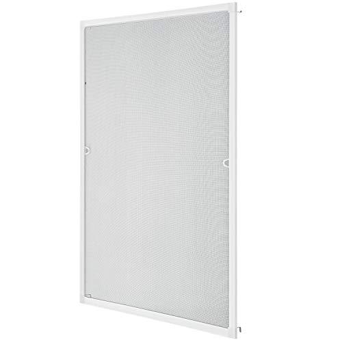 Juskys Fliegengitter mit Alu-Rahmen 100 x 120 cm – Insektenschutz & Mückenschutz für Fenster zum Einhängen – Insektenschutzgitter UV-beständig in Weiß