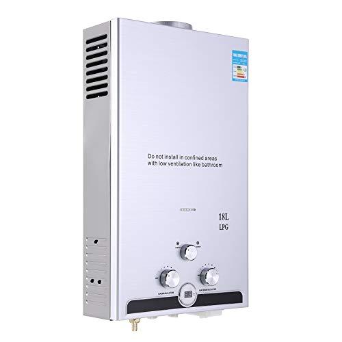 Valens 18L LPG Gas-Durchlauferhitzer Warmwasserbereiter Durchlauferhitzer mit Bildschirm Heißwasserbereiter Boiler Warmwasserspeicher Tankless Instant Boiler (18L)