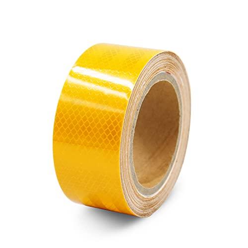 Reflektorband Warnklebeband reflektierend und selbstklebend, Reflektierendes Band Straße Transport Anlagen Sicherheitserinnerung, 10m Meter lang, 5cm breit, Gelb