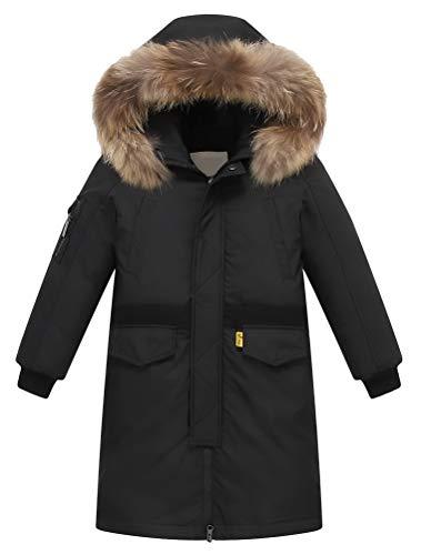 FTCayanz Kinder Daunenjacken Winterjacke mit Kapuze Lang Jacken für Jungen Mädchen Mäntel warm Wintermantel Schwarz 13-14 Jahre/Körpergröße 160-170
