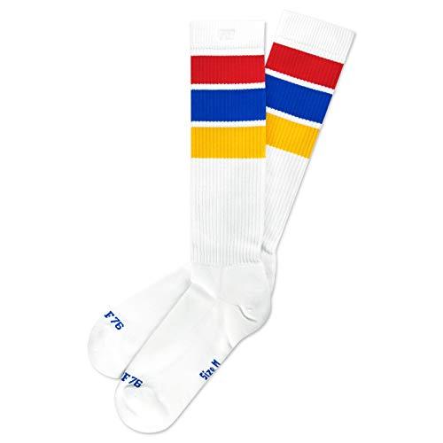 Spirit of 76 Herren & Damen Hohe Retro Socken mit Streifen Baumwolle 39 40 41 42 Weiß - Rot - Blau - Gelb Hi (M)