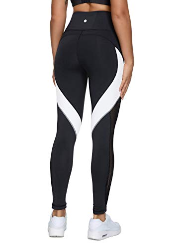 QUEENIEKE Damen 25 inch Yoga Leggings Neunte Hose Farbe Blocking Mesh Workout Laufleggings Strumpfhosen,Schwarz,S