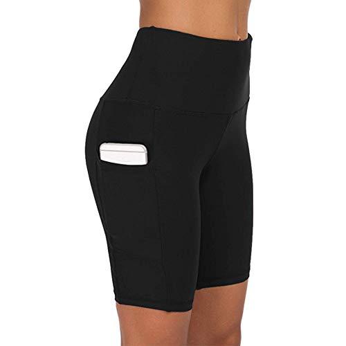 COTOP Damen Kurze Yoga Hosen Hohe Taille Joggen Sport Leggings Hosen Trainingsshorts Radhose Tights Hosen mit Taschen für Sommer Radfahren,Gym,Boxen(Schwarz, XL)