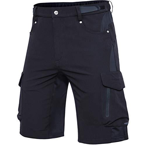 Cycorld MTB Hose Herren Fahrradhose, Schnelltrocknende MTB Shorts Herren Mountainbike Hose Baggy Bike Shorts, Atmungsaktiv Radhose mit Verstellbaren Klettverschlüssen (Schwarz, L)