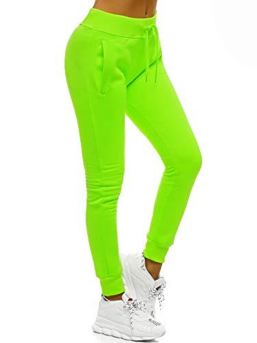 OZONEE Damen Jogginghose Hose Trainingshose Sporthose Freizeithose Motiv Damenhose Fitnesshose Sweathose Sweatpants Fußballhose Joggpants JS/CK01/31 GRÜN-NEON M