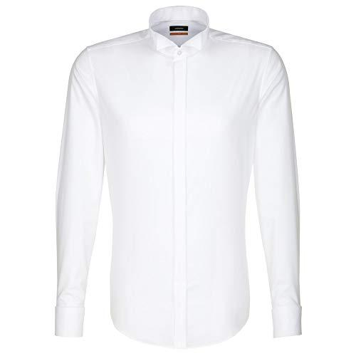 Seidensticker Herren Smoking Hemd Slim Fit – Bügelfreies, schmales Hemd für Anzug, Smoking, Cut und Frack mit Kläppchen-Kragen – Langarm – 100% Baumwolle , Weiß (Weiß 01) , Kragenweite: 45 cm