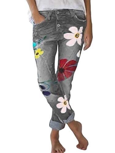 Onsoyours Damen Jeans Blumen Stickerei Slim Fit Skinny Hose Damen High Waist Jeanshose Straight Leg Hochbund Hosen Grau Large