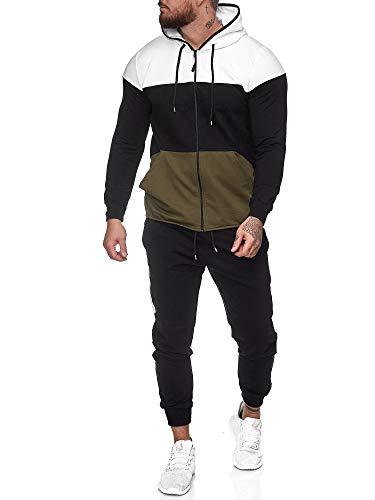 Code47 | Herren Trainingsanzug | Jogginganzug | Sportanzug | Jogging Anzug | Hoodie-Sporthose | Jogging-Anzug | Trainings-Anzug | Jogging-Hose | Modell JG-1083 Weiss-Schwarz-Grün XXL