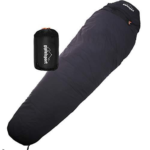 gipfelsport Mumienschlafsack - Outdoor Schlafsack für Erwachsene und Kinder | Mini Sleeping Bag für Winter, schwarz