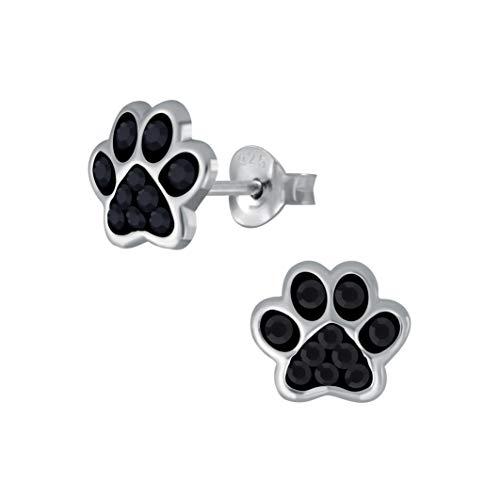 Laimons Mädchen Kids Kinder-Ohrstecker Ohrringe Kinderschmuck Hundepfote Pfote Pfötchen Tatzen mit Glitzer in schwarz 7mm klein aus Sterling Silber 925