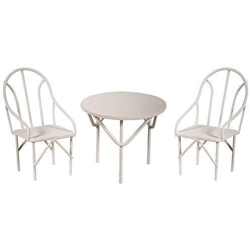 Rayher 46234102 Set Miniatur-Gartenmöbel, Sitzgruppe 3tlg., weiß, 2 Stühle und 1 Tisch, für Fairy Garden, Puppenhaus, Terrarium Craft, Miniaturwelten in Betonschale oder Blumentopf