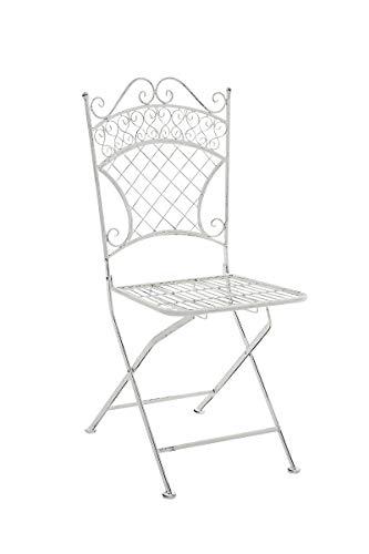 CLP Eisen-Klappstuhl ADELAR im nostalgischen Design I Klappbarer Gartenstuhl mit edlen Verzierungen I erhältlich, Farbe:antik weiß