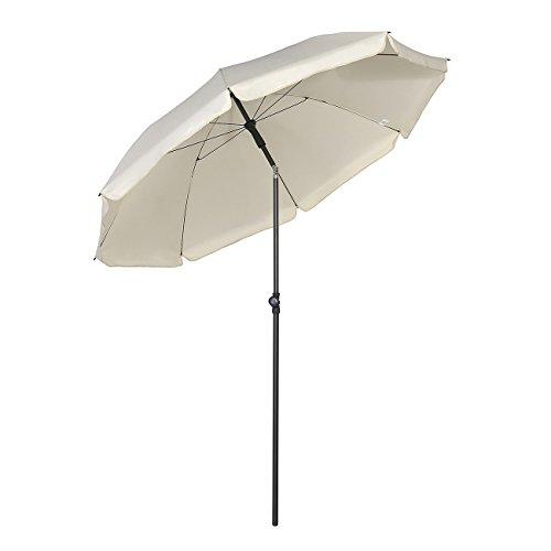 Sekey® Sonnenschirm 200 cm Marktschirm Gartenschirm Terrassenschirm Creme Rund Sonnenschutz UV25+