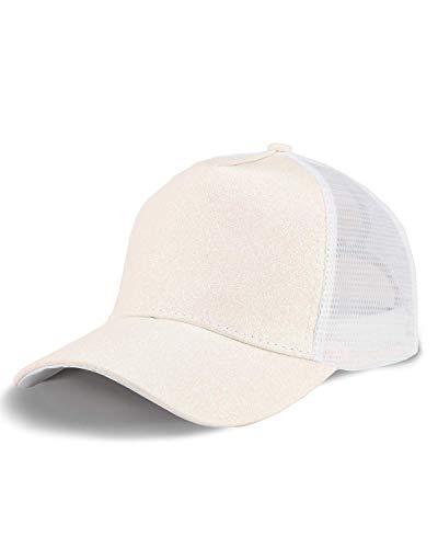 LIVACASA Basecap Damen Pferdeschwanz Mesh Baseball Cap Waschbar Hut Atmungsaktiv Cappi Sonnenhut Sonnenschutz Mädchen Kappe Schirmmütze Einheitsgröße Cappy Baseballkappe Weiß