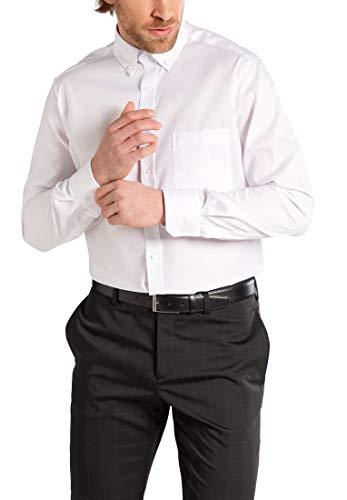 eterna Langarm Hemd MODERN FIT Pinpoint unifarben, W45 Langarm, Weiß