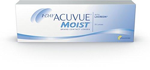 ACUVUE MOIST 1-Day Tageslinsen für empfindliche Augen & Allergiker – Tageskontaktlinsen mit -4 dpt und BC 8.5 – UV Schutz & hoher Tragekomfort – 30 Linsen