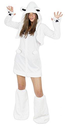 Foxxeo Eisbären Kostüm für Damen Tierkostüme sexy Kleid für Karneval und Fasching Erwachsene Größe M