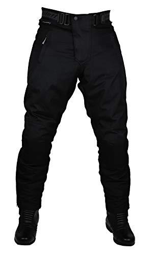 Schwarze Motorradhose mit herausnehmbarem Thermofutter, Protektoren und Weitenverstellung, für Sommer und Winter, Größe XXXL