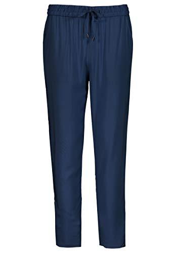 Sublevel Damen Stoff-Hose mit Bindegürtel aus Viskose Dark-Blue XL