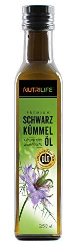 Nutrilife - Schwarzkümmelöl 250ml - 100% pur, ungefiltert, schonend kaltgepresst, vegan - Frischegarantie: täglich mühlenfrisch vom Hersteller aus echten ägyptischen Schwarzkümmelsamen