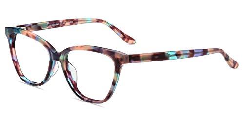 Firmoo Blaulicht Lesebrille 3.0 Damen Katzenaugen, Blaulichtfilter Computerbrille mit Sehstärke, Anti Blaulicht Lesebrille mit Federschanier Gemustert