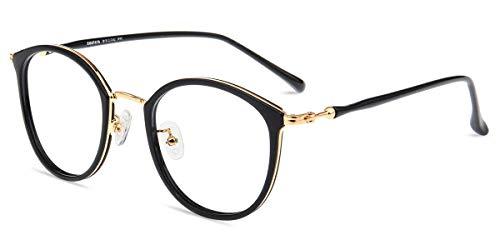 Firmoo Blaulicht Brille ohne Sehstärke Damen, Herren Blaulichtfilter Computer Brille gegen Kopfschmerzen, Entspiegelt, UV-Schutz Retro Runde Brille Schwarz