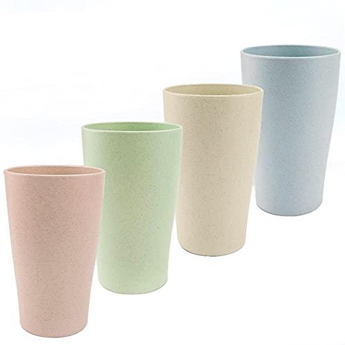 ANTHYTA 4 Stück Tasse Trinkbecher 400 ml Tasse Teetasse Unzerbrechliche Rohstoffe Becher Multifunktionale Fallfeste Tasse 4 Farben Becher Set für Wasser Kaffee Milch Saft