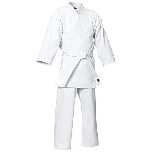 MYmixtrendz. Weißer Karate-Anzug für Erwachsene und Kinderschüler mit KOSTENLOSEM weißen Gürtel Poly/Cotton (vorgeschrumpft) Uniformen Jungen Kimono-Set (White, 0000/100cm 3-4yrs)