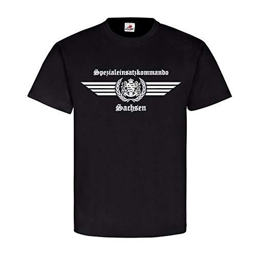 SEK Sachsen altes Logo Spezialeinsatzkommando Auto Spezialeinheit Survivor R Wappen Abzeichen Altdeutsch T-Shirt#23682, Größe:3XL, Farbe:Schwarz