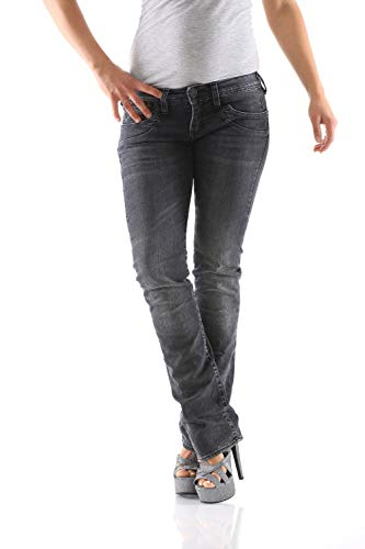 Herrlicher Damen Piper Denim Straight Jeans, Schwarz (Darkness 719.0), W30/L34