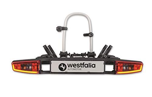 Westfalia Automotive bikelander Premium Fahrradträger für Anhängerkupplung - LED-Hybrid-Leuchten - Zusammenklappbarer Kupplungsträger für 2 Fahrräder - E-Bike geeignet - Bis zu 60 kg Zuladung