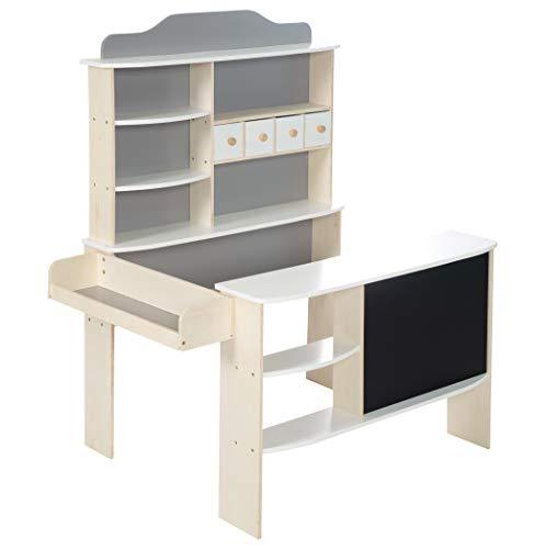 roba Kaufladen, Holz natur,weiß/grau lackiert, 4 Schubladen, Uhr, Tafel, Theke & Seitentheke, mehrfarbig