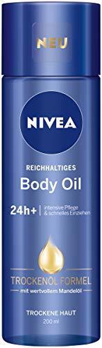 NIVEA Reichhaltiges Body Oil im (200 ml), Körperöl mit innovativer Trockenöl Formel und 24h+ intensive Pflege für trockene Haut, Körperpflege mit Mandelöl zieht schnell ein