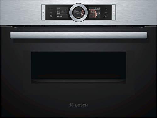 Bosch CMG636BS1 Serie 8 Einbau-Kompaktbackofen mit Mikrowellenfunktion / 900 W / 45 L / Edelstahl / Klapptür / TFT-Display / Bosch Assist / EcoClean Direct