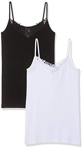 ONLY Damen onlKIRA LACE Slim Fit Singlet 2 Pack Top, Schwarz (Black Pack: Black and White), 40 (HerstellerGröße: L) (2er