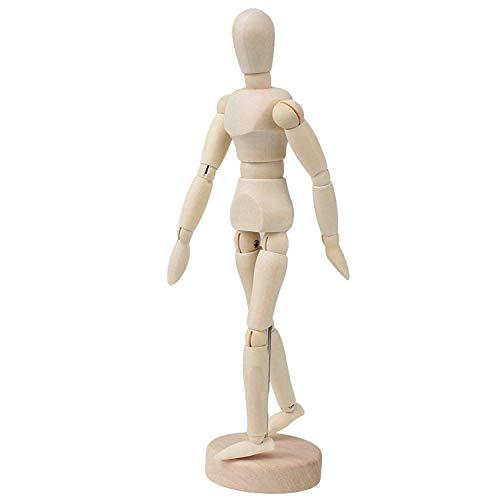 Ouinne Holz Menschlichen Gelenken Mannequins, 8 Zoll Weibliche Männliche Zeichenpuppe aus Holz Malhilfe zum Zeichnen Modellpuppe