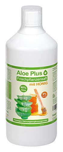 ALOE VERA & HONIG TRINK SAFT   mit Vitamin C, B6, B12, Niacin, Biotin   1 Liter mit Messbecher   Nahrungsergänzung, Drinking Gel   Premium Qualität   Aloe Plus Secret Essentials