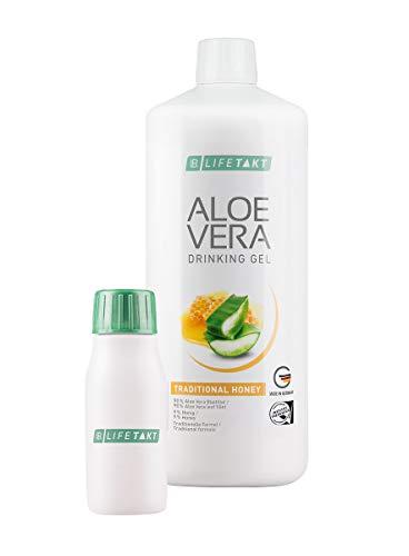 LR Aloe Vera Drinking Gel Honey / Honig 1000 ml plus Aloe Vera Rotationsflasche (unbefüllt) für unterwegs, 90 ml
