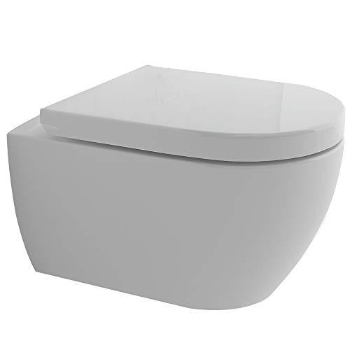 Spülrandloses WC inkl. GEBERIT UP320 Spülkasten & GEBERIT Duofix Bausatz und Betätigungsplatte SIGMA20 weiß/glanz-chrom, 2-Mengen-Spülung mit Befestigungsrahmen | Komplett-Set