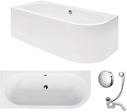 VBChome Badewanne 170x75 cm Acryl SET Schürze Siphon Wanne Ecke Eckbadewanne Weiß Design Modern Ablaufgarnitur Viega Simplex für 2 Personen links (Wanne 170x75 links + Schürze + Ablaufgarnitur)