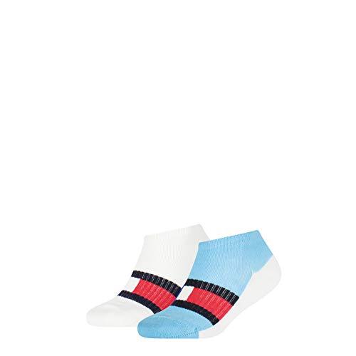 Tommy Hilfiger Boys Kids Sport Sneaker-Trainer (2 Pack) Socks, Blue Combo, 31-34