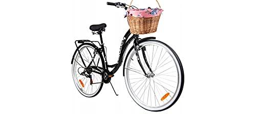 BDW 28 Zoll Damen Mädchen City Trekking Fahrrad Rad Bike Damenrad Cityfahrrad Damenfahrrad Cityrad Trekkingfahrrad Trekkingrad 6 Shimano Gang, Korb KOSTELNOS || SCHWARZ ||