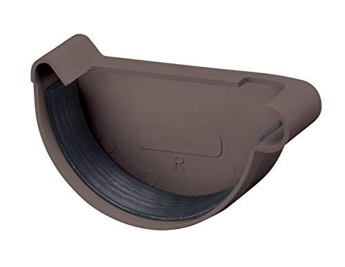 INEFA Rinnenendstück, halbrund Dunkelbraun NW 125, rechts - Kunststoff, Regenrinne - Stück für Rinne, Dachrinnen, Kunststoffrinne für Gartenhaus, Gewächshaus - Endstück, Zubehör