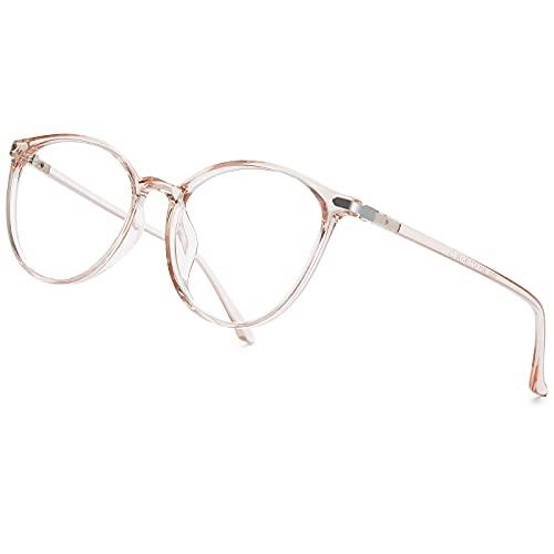 VEVESMUNDO Damen Blaulichtfilter Brille Ohne Sehstärke Anti Blaulicht UV400 Blockieren Vintage Computerbrille Transparent Brillenfassung Brillengestelle (Dunkelrosa)