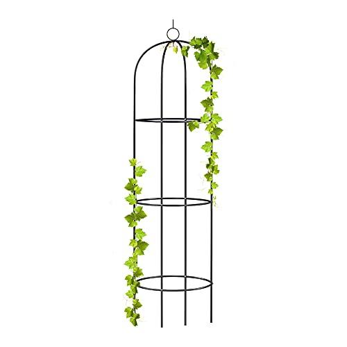 wuuhoo® I Rankhilfe Alma als Obelisk aus Metall 190cm für den Garten und Terasse I Rankturm und Ranksäule für Kletterpflanzen I witterungsbeständig aus beschichtetem Metall I leicht zerlegbar 1 Stk.