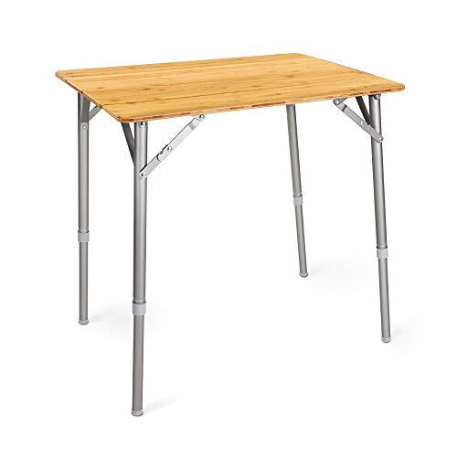 Navaris Bambus Campingtisch faltbar - Klapptisch belastbar bis 30kg für Outdoor Camping Angeln - Tisch Aluminium Beine - klappbar höhenverstellbar