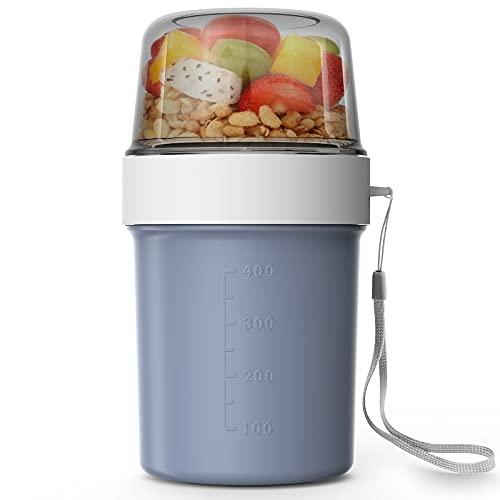 Abree Müslibecher 560ml+310ml Praktischer Müslibecher,Joghurtbecher Lunchbox für Arbeit Reise Picknick Frühstück (Blau)