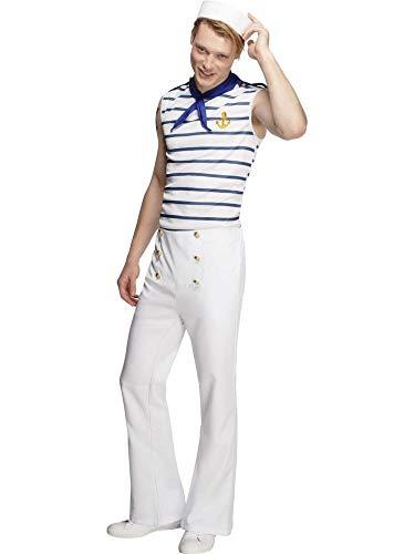 shoperama French Sailor Herren Kostüm inkl. Hut Matrose Seemann Shirt Halstuch Hose Männer, Größe:L