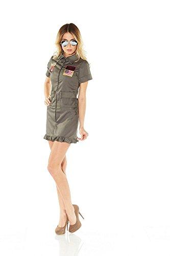 shoperama Deluxe Piloten-Kostüm Jetpilotin Damen inklusive Brille Pilotenkostüm Jetpilot, Größe:L